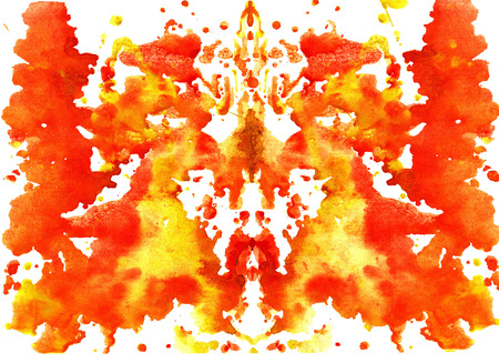 blot: orange yellow watercolor symmetrical Rorschach blot on a white background