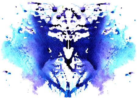 푸른 수채화 대칭 심리 흰색 배경에 오 점