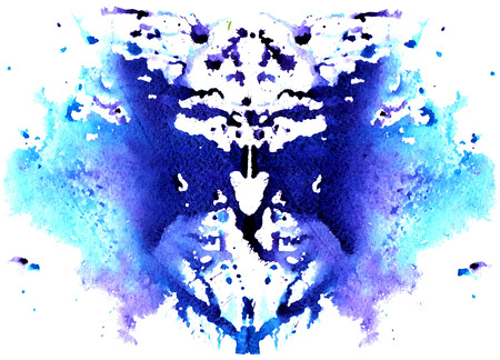 blue watercolor symmetrical Rorschach blot on a white background 版權商用圖片