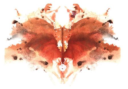 brown watercolor symmetrical Rorschach blot on a white background