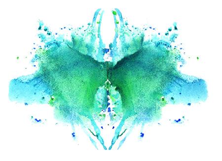 blue watercolor symmetrical Rorschach blot on a white background 写真素材