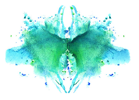 blue watercolor symmetrical Rorschach blot on a white background Stockfoto