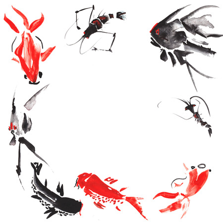 japanese script: Marine life such as - shrimp, angelfish , marble carp , goldfish , catfish , drawn in the style of Chinese painting , float on a white background , presenting a charming lively circle