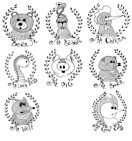 Stel beeldverhaal portretten van dieren - beer, konijn, haan, varken, vos, egel, evenals de Loch Nes monster