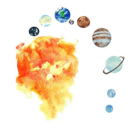태양계의 모든 행성, 손으로 그린 수채화 물 - 태양, 수성, 금성, 지구 및 동반자의 달, 화성, 목성, 토성, 천왕성, 해왕성