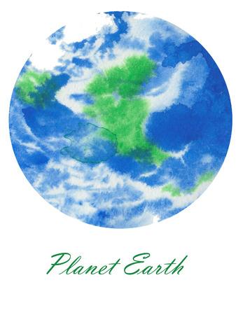 onze prachtige planeet Aarde aquarel close-up de hand