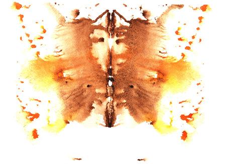 oker en geel aquarel symmetrische Rorschach vlek op een witte achtergrond