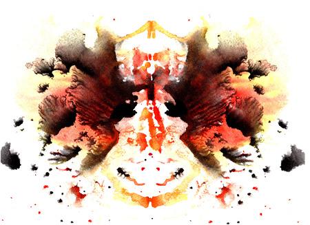oranje en zwart aquarel symmetrische Rorschach vlek op een witte achtergrond