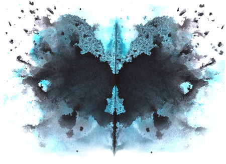 blue - black watercolor symmetrical Rorschach blot on a white background