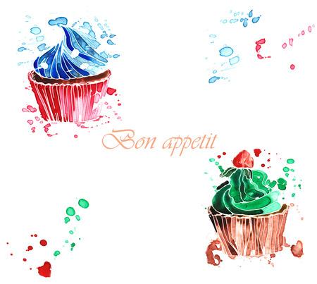 Twee zoete room cupcakes, geschilderd in aquarel Stockfoto