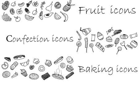 Pictogrammen set met de hand geschilderd, confectie, bakken en fruit