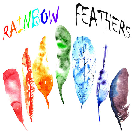 set van aquarel regenboog veren