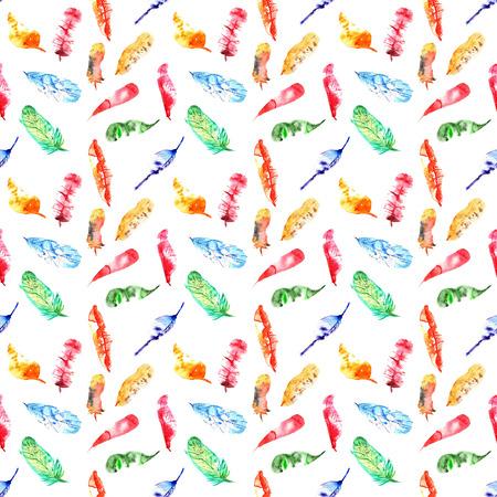 naadloze patroon van gekleurde veren aquarellen op witte achtergrond
