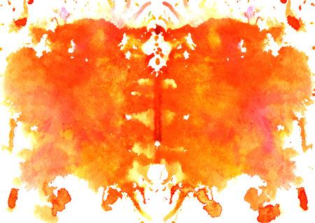 Rood-oranje waterverf symmetrisch Rorschach blot op een witte achtergrond