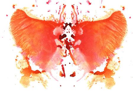 흰색 배경에 오렌지 수채화 대칭 Rorschach 오 점 스톡 콘텐츠
