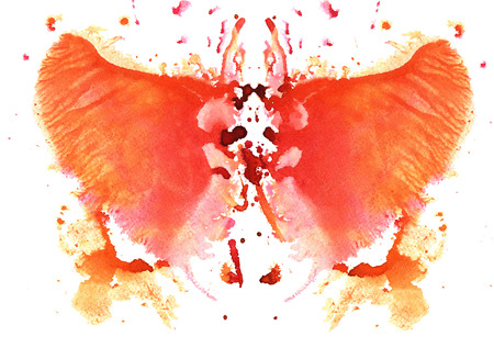 orange watercolor symmetrical Rorschach blot on a white background