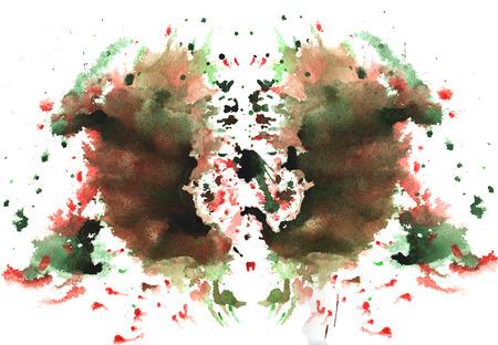 vuile rood en groen aquarel symmetrische Rorschach vlek op een witte achtergrond