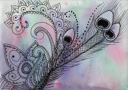 Indiase patroon - Veer en mandala geschilderd liner voor de textuur aquarel achtergrond van zacht paars, roze en blauw Stockfoto
