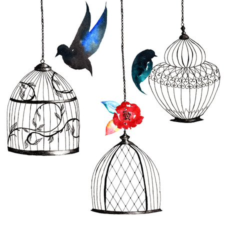 set handgeschilderde vogelkooien, vogels, bladeren, aquarel donkere kleuren
