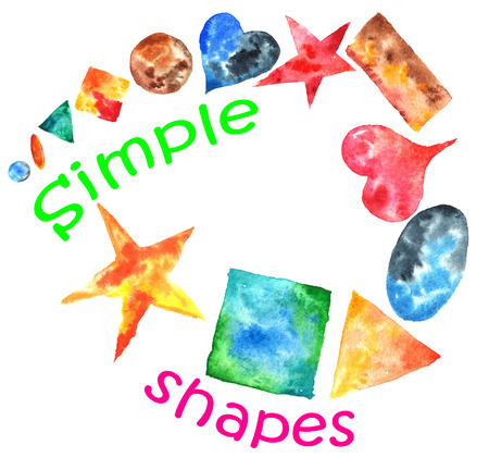 een set van de hand getekende aquarel van eenvoudige vormen - vierkant, ster, hart, ovaal, cirkel, rechthoek, driehoek