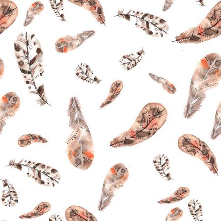 Vintage naadloos patroon van beige en bruine veren op een witte achtergrond Stockfoto
