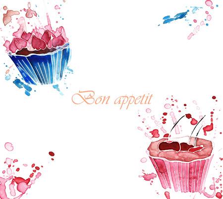 Twee aquarel cupcakes met spatten op een witte achtergrond