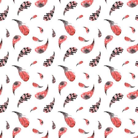 Naadloos patroon van met de hand geschilderde waterverf rode en roze veren op een witte achtergrond