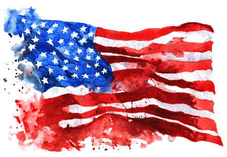 흰색 배경에 미국의 국기, 손으로 그린 수채화 스톡 콘텐츠
