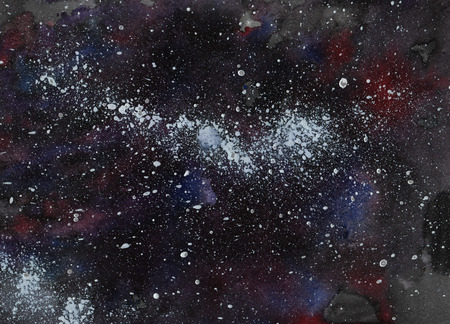 Aquarel achtergrond - ruimte, sterren, de Melkweg Stockfoto