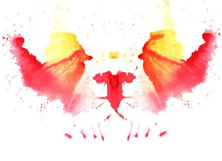 paars- gele aquarel symmetrische Rorschach vlek op een witte achtergrond Stockfoto