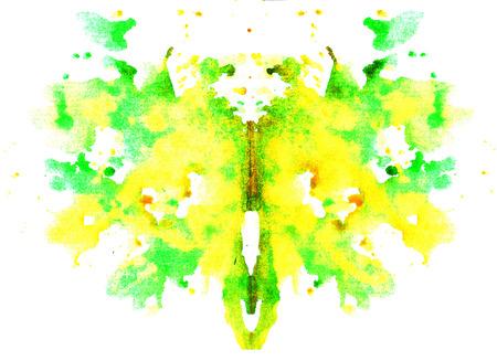 fel geel-groen aquarel symmetrische Rorschach vlek op een witte achtergrond