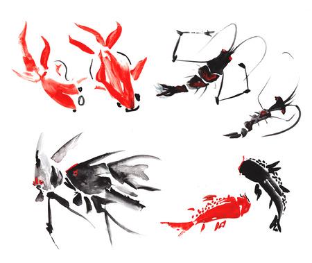 Mariene leven, zoals - garnalen, maanvissen, marmer karper, goudvis, meerval, getekend in de stijl van de Chinese schilderkunst, drijven op een witte achtergrond, die een charmante levendige cirkel