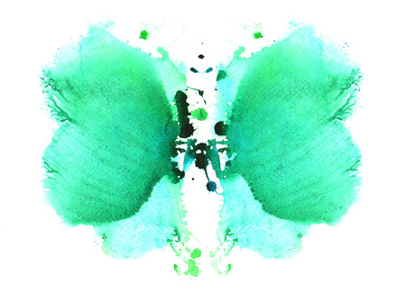 pale blue with the addition of blue-green watercolor symmetrical Rorschach blot on a white background