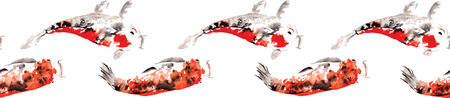 narrow: Endless narrow pattern of intertwined Japanese carp koi painted in watercolor