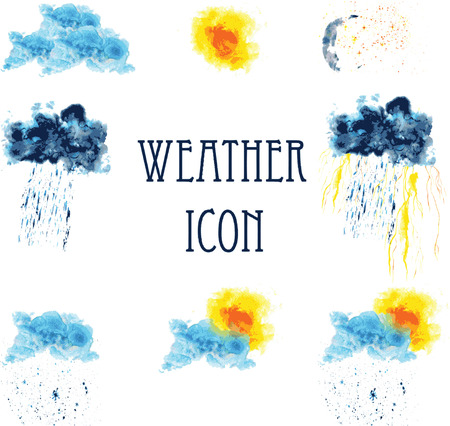 cold weather: Icons for weather - sunny, cloudy, thunderstorm, rain, snow, cold, clear night, the clouds. painted in watercolor