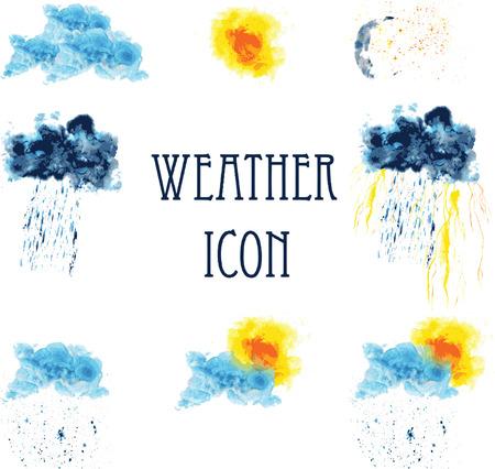 Pictogrammen voor weer - zonnig, bewolkt, onweer, regen, sneeuw, koude, heldere nacht, de wolken. geschilderd in aquarel Stock Illustratie