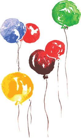 celebratory: six air celebratory beads - blue, red , green and yellow , hand-drawn watercolor