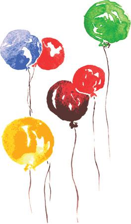 zes lucht feestparels - blauw, rood, groen en geel, met de hand getekende aquarel Stock Illustratie
