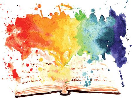 aquarel geschilderd boek bevat een hele werelden