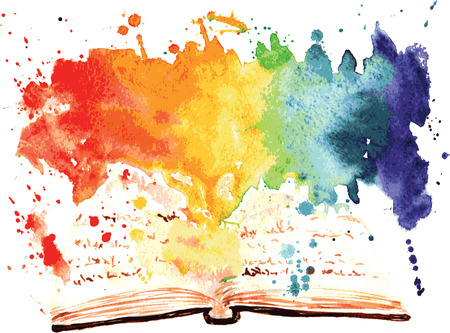 watercolor painted book containing a whole worlds Vettoriali