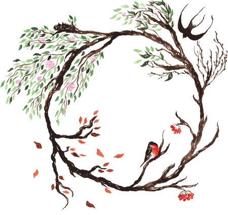 화환, 벚꽃 나무 꽃이 만발한 계절에 변화를 나타내는 그 지점 사는 가금류에, 꽃은 꽃, 잎은 봄에 녹색과 가을에 가을
