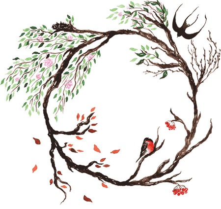 wreath, representing the transition from season to season , blossoming cherry tree in whose branches live poultry , flowers bloom , the leaves are green in spring and fall in autumn