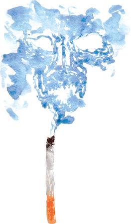 흡연 죽이기 때문에, 두개골의 형태로 담배에서 내려 오는 연기! 손으로 그린 수채화