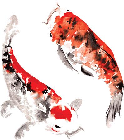 peces: dibujado a mano acuarela de hadas koi japoneses que flotan en un círculo, que representa la forma de un yin - yang