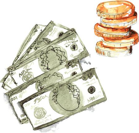 손으로 그린 수채화 - 달러 5 달러, 교 단에 100 달러의 설정 및 동전