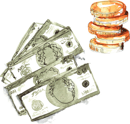 set hand-painted watercolor - dollars five pieces , in denominations of one hundred dollars , and a stack of coins