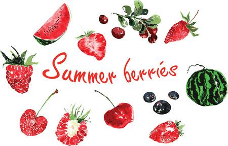 set van de zomer bessen in waterverf - kersen, frambozen, aardbeien, aardbeien, bosbessen, zwarte bessen, watermeloen