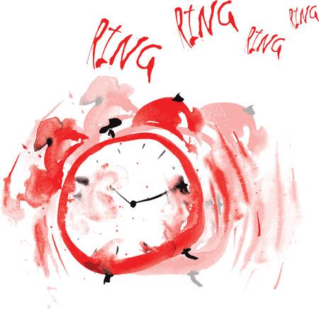 gekke rode wekker, geschilderd in aquarel, en probeert om wakker het aanbellen een witte achtergrond