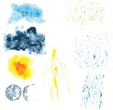 sonne mond und sterne: Icons für Wetter - Sonne, Mond, Sterne, Wolken, regen, Schnee, Blitzschlag, gemalt im Aquarell