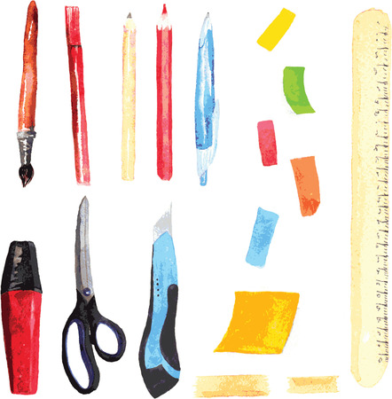 watercolor pen: set of office and school supplies , painted in watercolor - the brush , pen , pencil chernografitny , colored pencil , pen, secretory marker , scissors, stationery knife, chtikery , tape , ruler Illustration